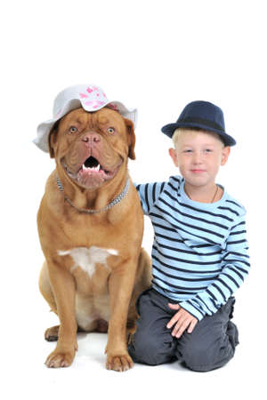 Boy with a Female dog in a hat Stock Photo - 7729925