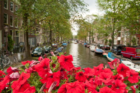 car retailer: One of the channels in Amsterdam. Focus on the lovely red flowers. Stock Photo