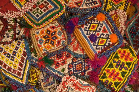 Abstract Beads Ethnic Souvenirs Background. Archivio Fotografico