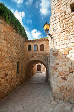 passageway: Empty passageway in Peratallada, Spain