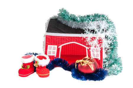 Santas Boots, Christmas ball, garland and a house photo
