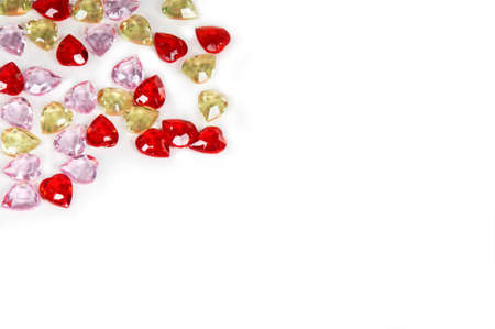 Colorful heart gems background photo