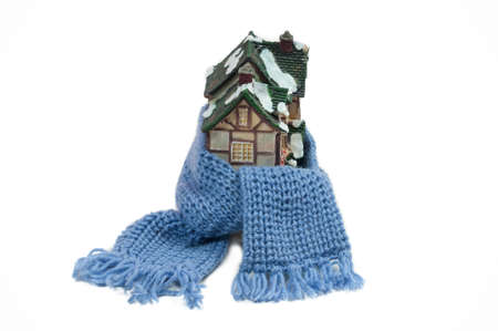 Christmas toy house wrapped in blue hand made shawl photo