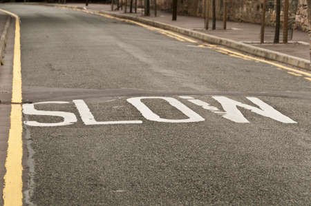 slow lane: Slow sing on the road