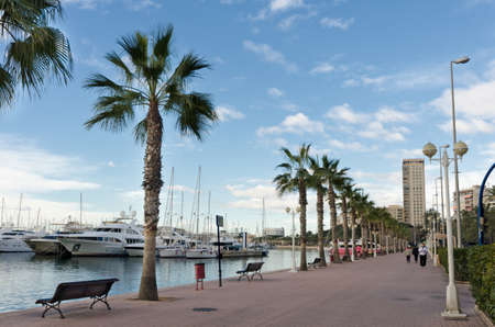 esplanade: Marina and  pedestrian alley in Alicante, Spain. Stock Photo