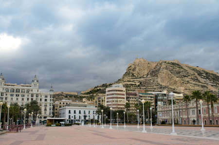 santa barbara: View to the Santa Barbara Castle from the harbour, Alicante, Spain.