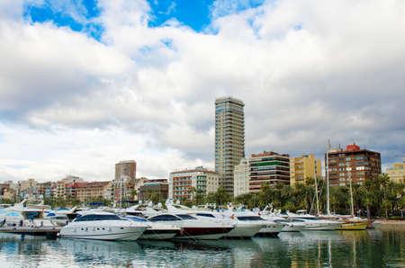 santa barbara: Yachts in Alicante marina, Spain. Stock Photo