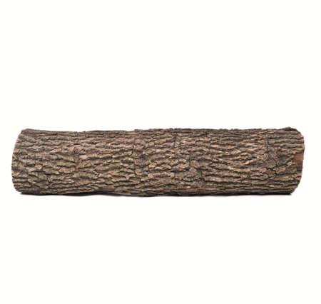 Morceau de bois sombre, isolé sur fond blanc