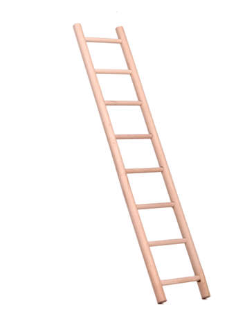 backstairs: Sideview of a wooden ladder holded by human hand