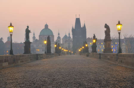Charles Bridge in Prague during the sunrise, Bohemia, Czech Republic. photo