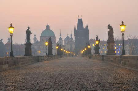 charles bridge: Charles Bridge in Prague during the sunrise, Bohemia, Czech Republic.