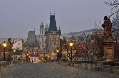 Lesser Bridge Tower of Charles Bridge in Prague (Karluv Most) the Czech Republic. photo