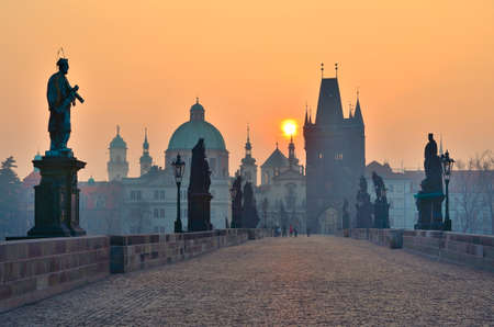 sunrise over Prague - look from charles bridge, early motning photo
