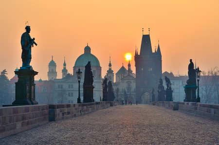 prague castle: sunrise over Prague - look from charles bridge, early motning