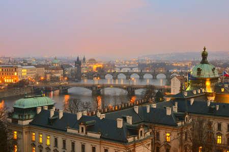 View on spring Prague bridges at sunset photo