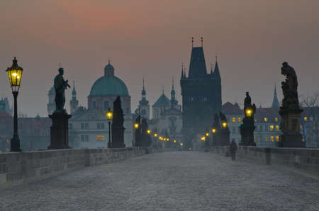 praha: Charles bridge at dusk, Czech republic, Prague