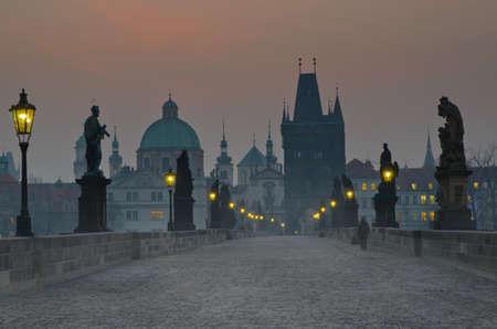 prague castle: Charles bridge at dusk, Czech republic, Prague