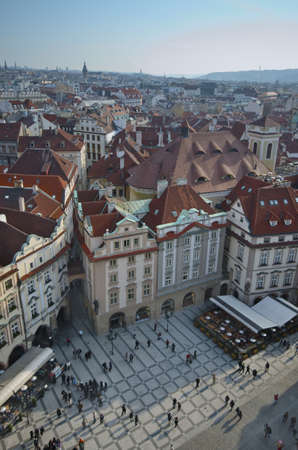 Aerial view of Old Town Square in Prague from the top of the town hall.