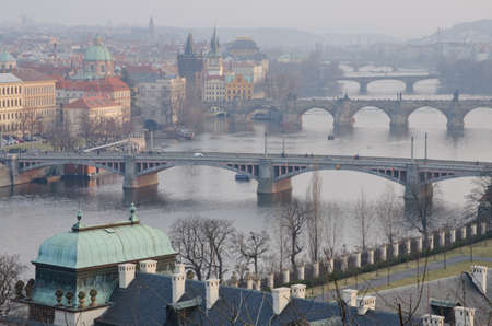 Autumn view to Prague Bridges, Czech Republic. photo