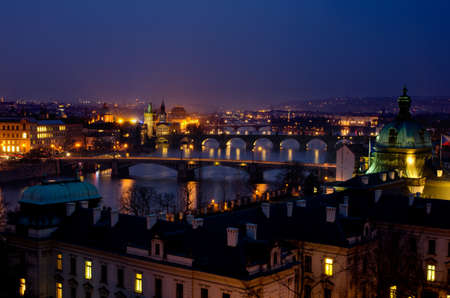 Prague bridges at night,Czech Republic photo