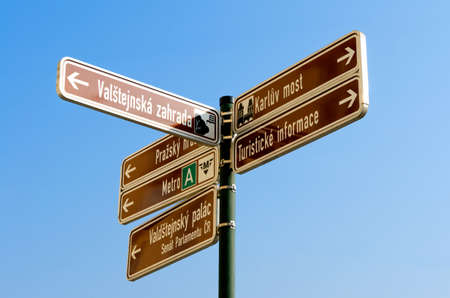 Information street sign in Prague, Czech republic Stock Photo