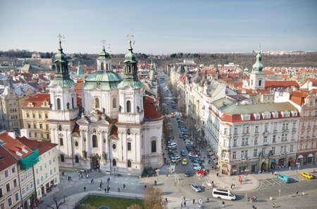 old town square: St. Nicholas Church Old Town Square, Prague, Czech Republic.