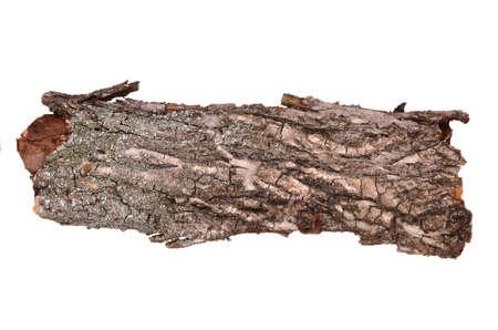 Close-up van geïsoleerde gebarsten stub log schors met houten textuur geïsoleerd op witte achtergrond Stockfoto