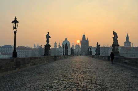 charles bridge: Charles Bridge at sunset, Prague, Czech Republic