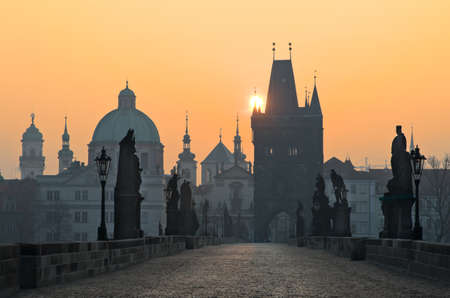 Charles Bridge at sunset, Prague, Czech Republic photo