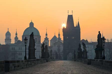 prague castle: Charles Bridge at sunset, Prague, Czech Republic