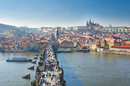 praha: Charles Bridge and Prague Castle, view from the Charles Bridge tower, Czech Republic. Editorial