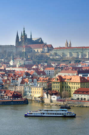 vltava: Prague Castle and Charles Bridge, view from Vltava river, Czech Republic