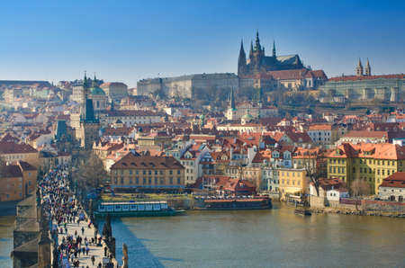 Charles Bridge and Prague Castle, view from the Charles Bridge tower, Czech Republic.