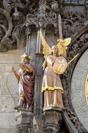 Statue on the left side of the astronomical clock in Prague, Czech republic.