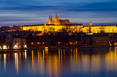 bohemia: Prague castle and Vltava river at night, Czech Republic.