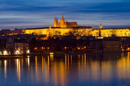 Prague castle and Vltava river at night, Czech Republic. photo