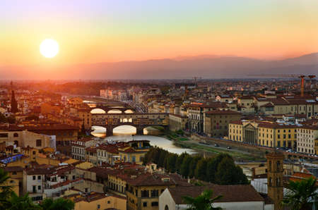 ponte vechio: Panoramic view to sunset bridges above Arno river, Florence, Tuscany, Italy