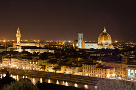 Night view to Florence skyline with Santa Maria del Fiore Cathedral, Tuscany, Italy photo