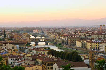 ponte vechio: Panoramic sunset view to Florence, Tuscany, Italy