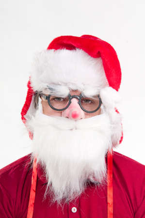 Young man dressed like Santa photo