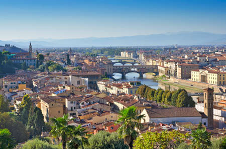 ponte vechio: Arno River and Florence Panorama Stock Photo