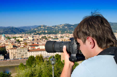 stock photograph: Young man taking an image of Florence, Italy Stock Photo