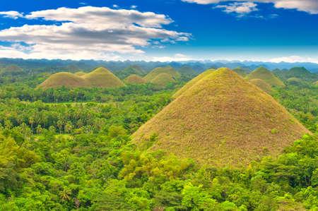 Chocolate hills panorama, Bohol island, Philippines Stock Photo