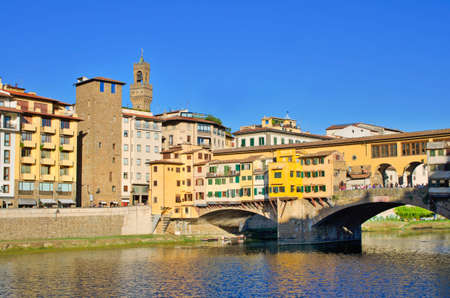 ponte vechio: Part of the Famous Ponte Vecchio bridge over river Arno in Florence Stock Photo