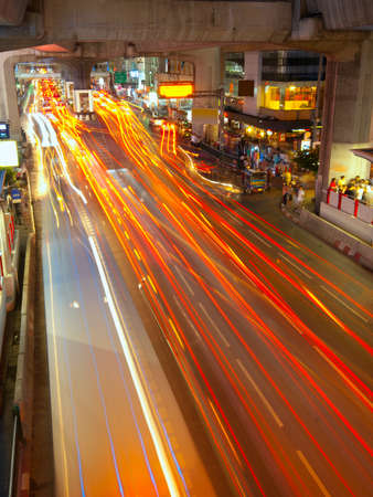 Light trails on a center street in Bangkok Stock Photo - 11519688