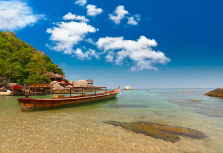 phangan: Thailand vacation bay with long-tailed boat
