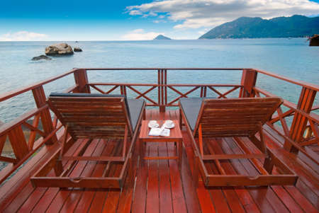 thailand view: Beach beds on exotic terrace with romantic sea view