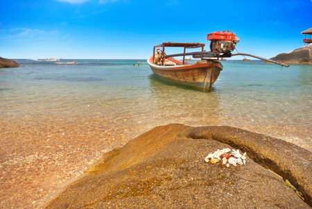 Seashells on a rock and a boat in a bay photo
