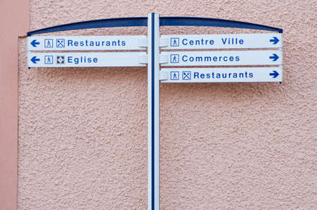 Information street sign in small european town, France photo