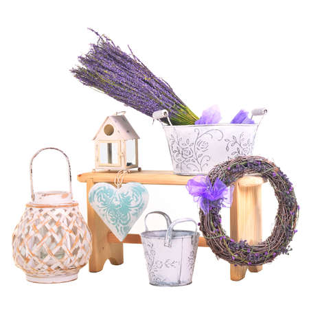 Spa items set - lavender bunches and candlesticks photo